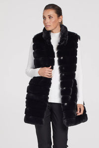 Tribal Faux Fur Coat with Removable Sleeves