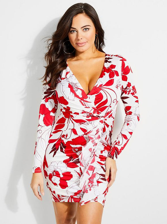Guess Tissa Ruched Floral-Print Dress