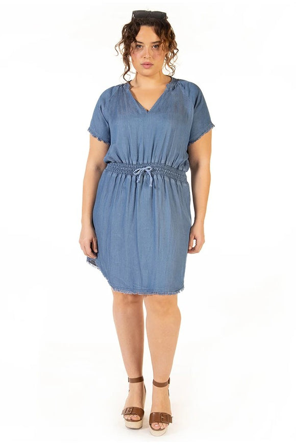 Dex Plus Frayed Hem Dress