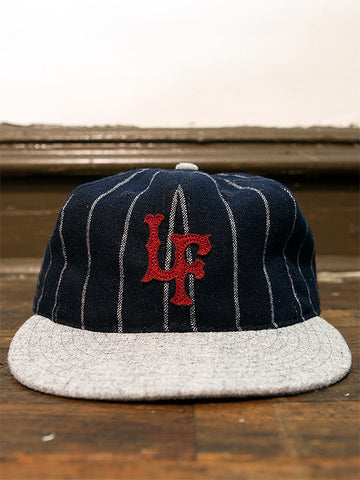 Navy Stripe Fitted Ballcap - Left Field NYC