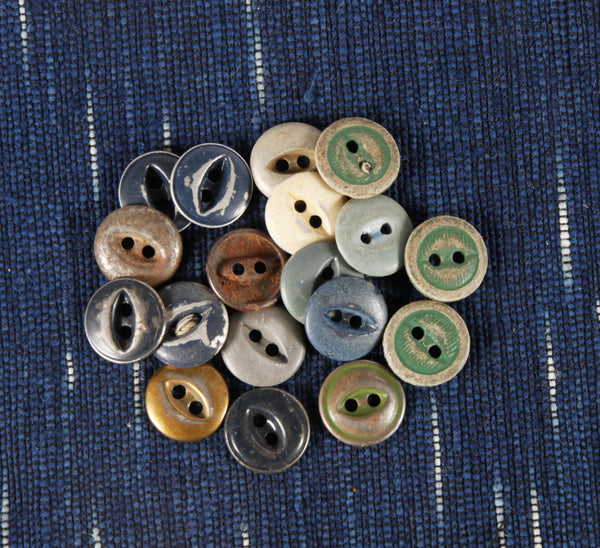 Antique metal fish eye workwear buttons small - Left Field NYC