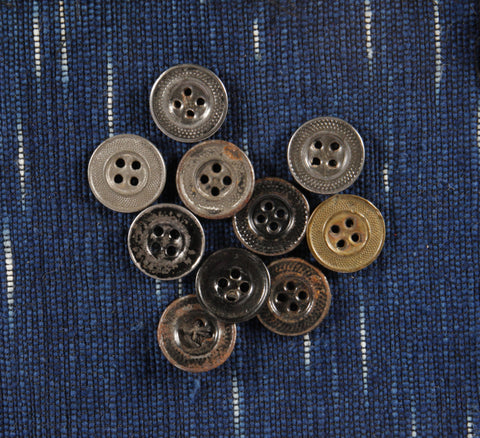 Large 4 hole antique metal workwear buttons