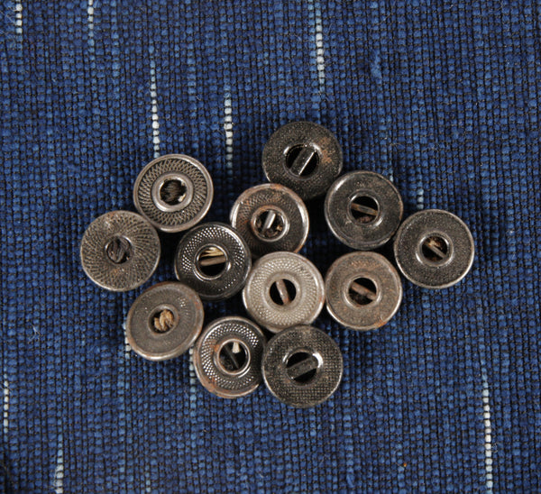 Antique 2 hole with bar metal workwear buttons small