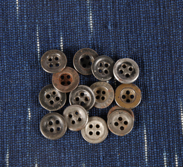 Antique 4 hole metal workwear button small - Left Field NYC