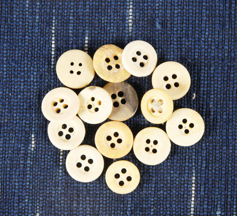 4 hole Civil War era bone buttons with rim small - Left Field NYC
