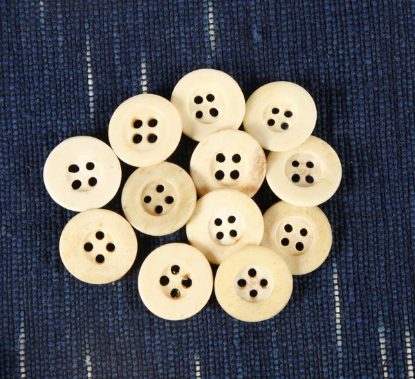 Large Civil War Era 4 hole bone buttons with rim - Left Field NYC