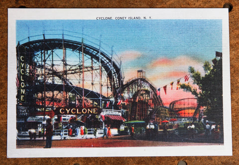 Cyclone, Coney Island N.Y. Heavy Linen reproduction Post Card