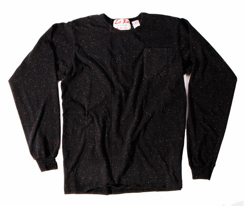 Long Sleeve Black Galaxy Pocket Tee ** size up a size **