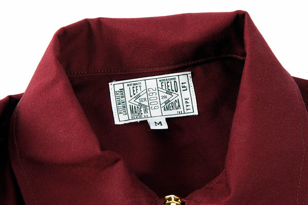 Greaser Garage Jacket - Maroon 9 oz  Twill - Left Field NYC
