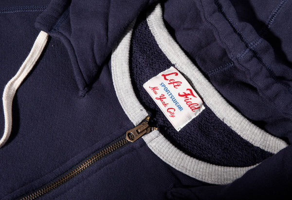 Navy Terry Hooded Sweatshirt(washed and hot dried) - Slim Cut - Left Field NYC