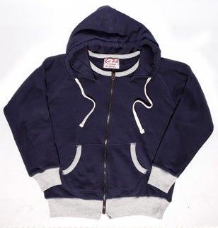 Navy Terry Hooded Sweatshirt(washed and hot dried) - Slim Cut (Size up) - Left Field NYC