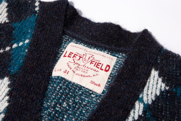 Dark Navy Mohair Argyle Cardigan Sweater made in Queens - Left Field NYC