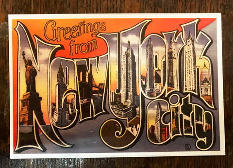 Greetings from New York City Linen Post Card - Left Field NYC