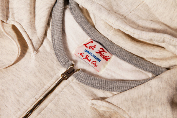 Oatmeal Fleece Hooded Sweatshirt(washed and hot dried) - Slim Cut - Left Field NYC