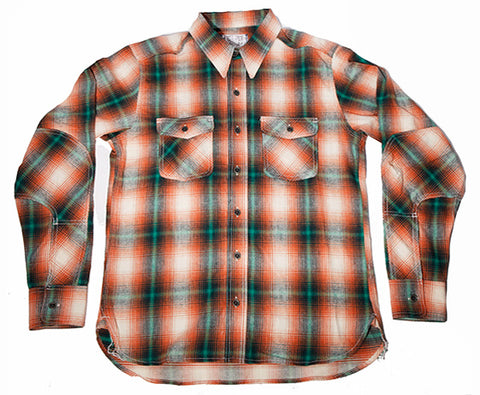 5 oz Orange/Green Plaid Dust Bowl Work Shirt - Left Field NYC