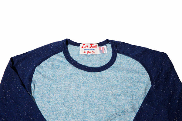 Chambray/Earth from Space Nep 3/4 sleeve Raglan Tee shirt - Left Field NYC