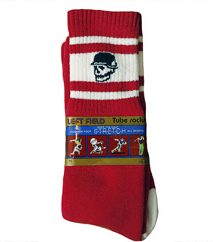 LF Skull Head Red Tube Socks - Left Field NYC