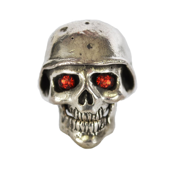 Satanic Garnet Silver Skull Ring - Left Field NYC