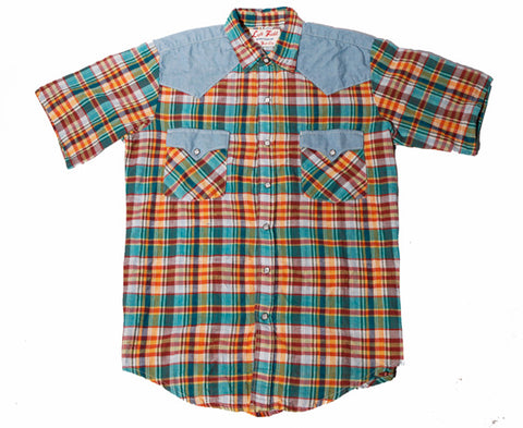 Good Vibrations Short Sleeve Western Madras Shirt