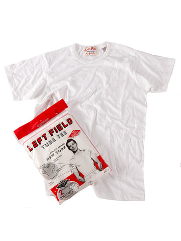 Left Field Tube Tee 2 Pack (White Crew) *** will shrink to spec after cold wash hot dry.
