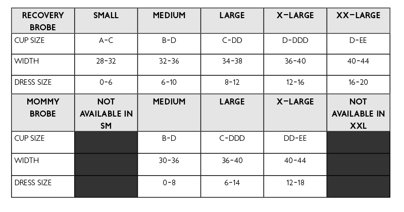 Recovery Brobe sizing guide