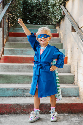 Superhero Robe with interior pockets to hold JP Drains, monitors or medical equipment for children with cancer, disease, chronic illness or recovering from surgery.