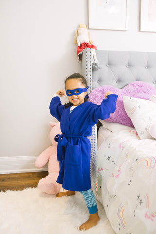 Brobe International Elliott Superhero Robe for children battling cancer, chronic illness, disease or recovering from surgery with interior pockets to hold JP Drains, monitors, cords or medical equipment.