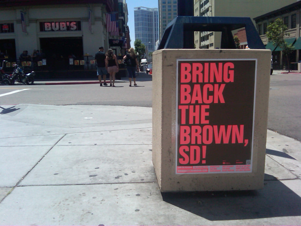 Bring Back The Brown Poster in front of Bub's