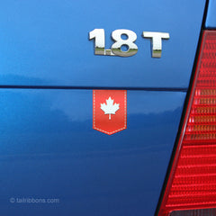 Canadian Maple Leaf car sticker tailribbon on a VW Jetta