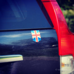UK Flag car sticker on a Volvo