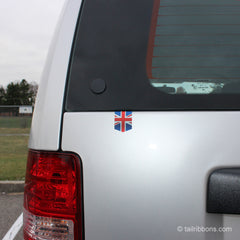 Flag of the United Kingdom car sticker on a Jeep