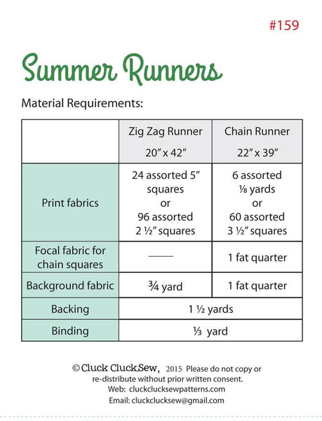 Summer Runner Paper Pattern