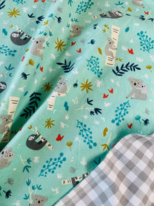 Whole Cloth Baby Quilt Kit - Flannel Sloths & Koalas