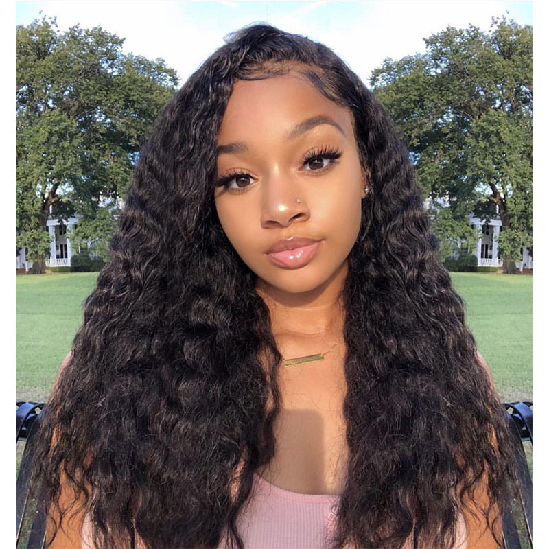 180 Density Malaysian Water Wave Human Hair Lace Front Wigs For Women Beach  Waves Hairstyles