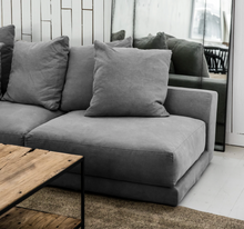 Load image into Gallery viewer, Grey Linen modular sofa, Natural timber coffee table