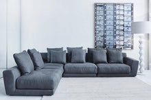 Load image into Gallery viewer, modular linen sofa, Grey, white floor lamp