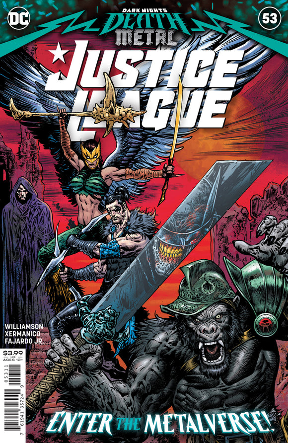 JUSTICE LEAGUE #53 CVR A LIAM SHARP (DARK NIGHTS DEATH METAL)