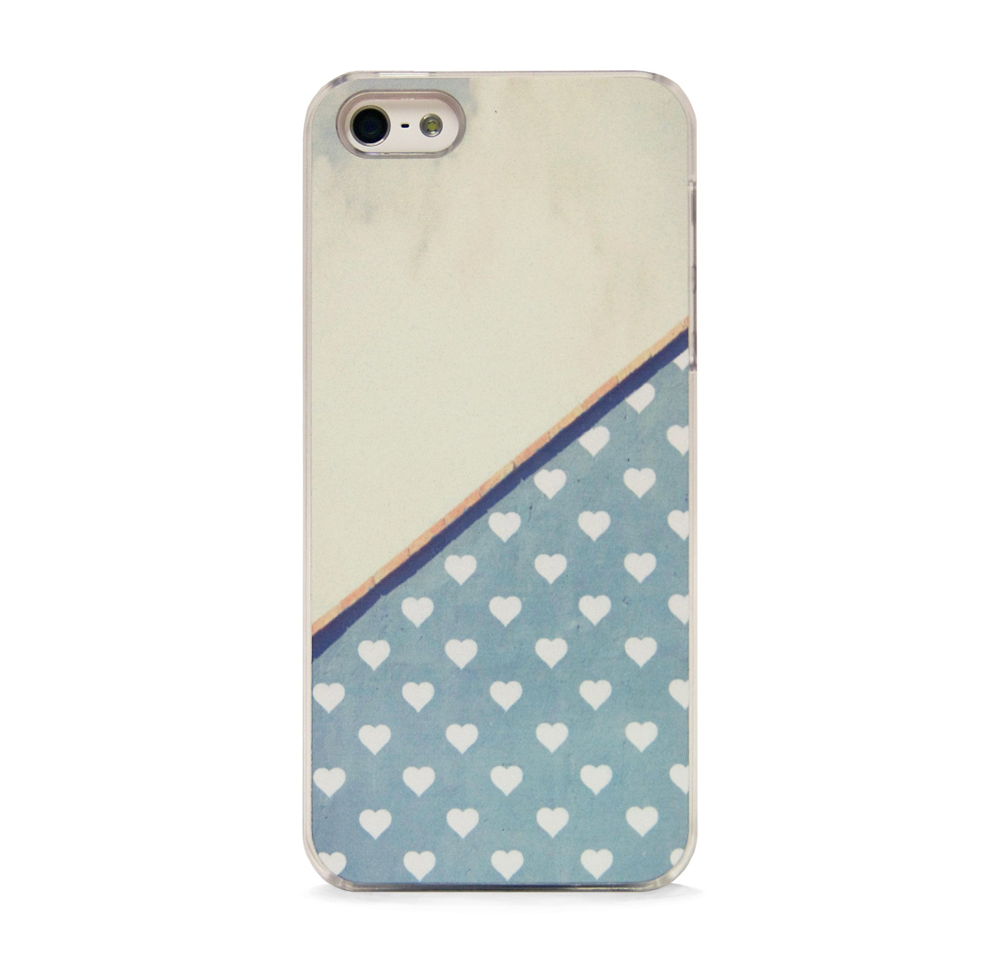 POLKA HEART GREY BLUE FOR IPHONE 5/5S