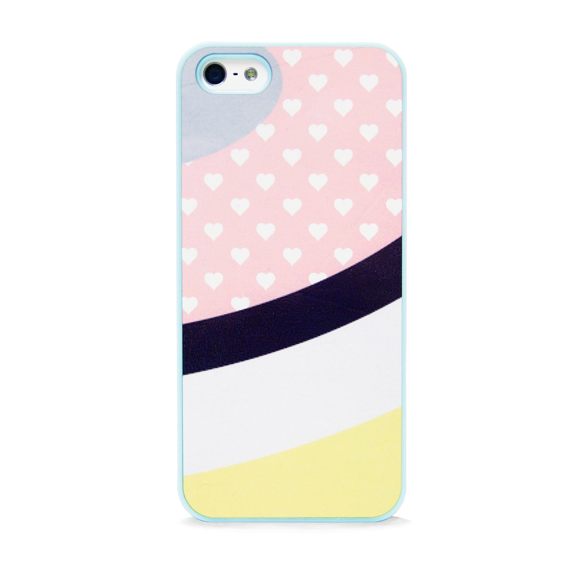 POLKA HEART PINK BLUE FOR IPHONE 5/5S, IPHONE SE
