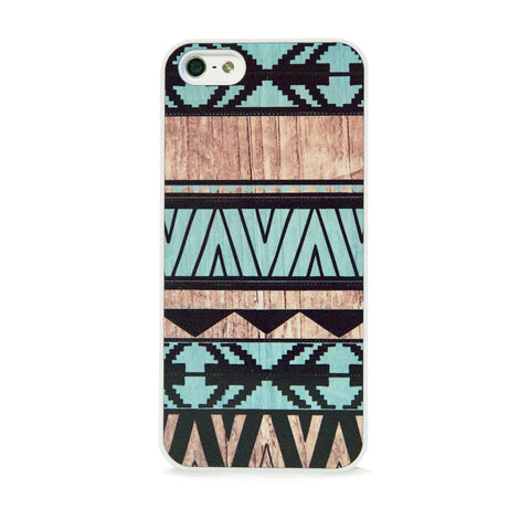 AZTEC GEO MINT WOOD PRINT IPHONE 5/5S CASE