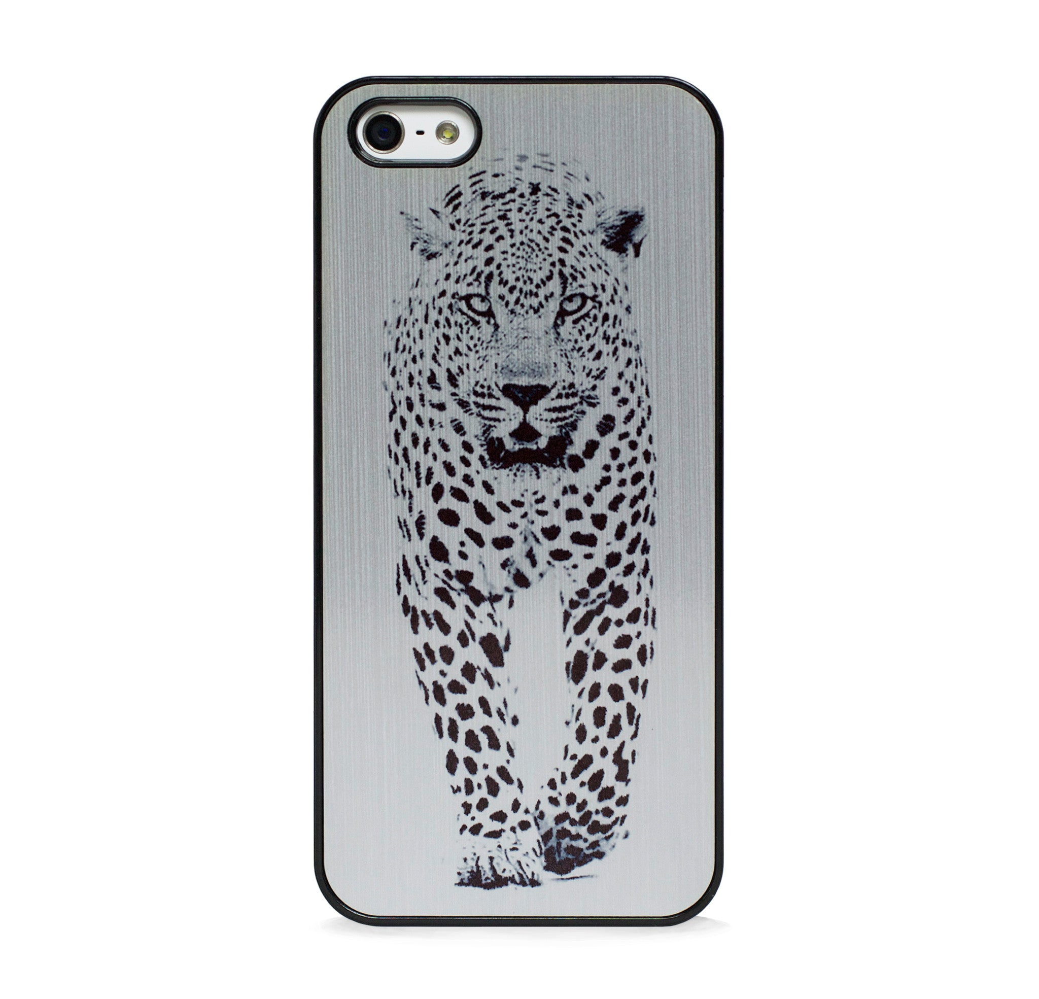 WILD CHEETAH BLACK IN SILVER IPHONE 5/5S CASE