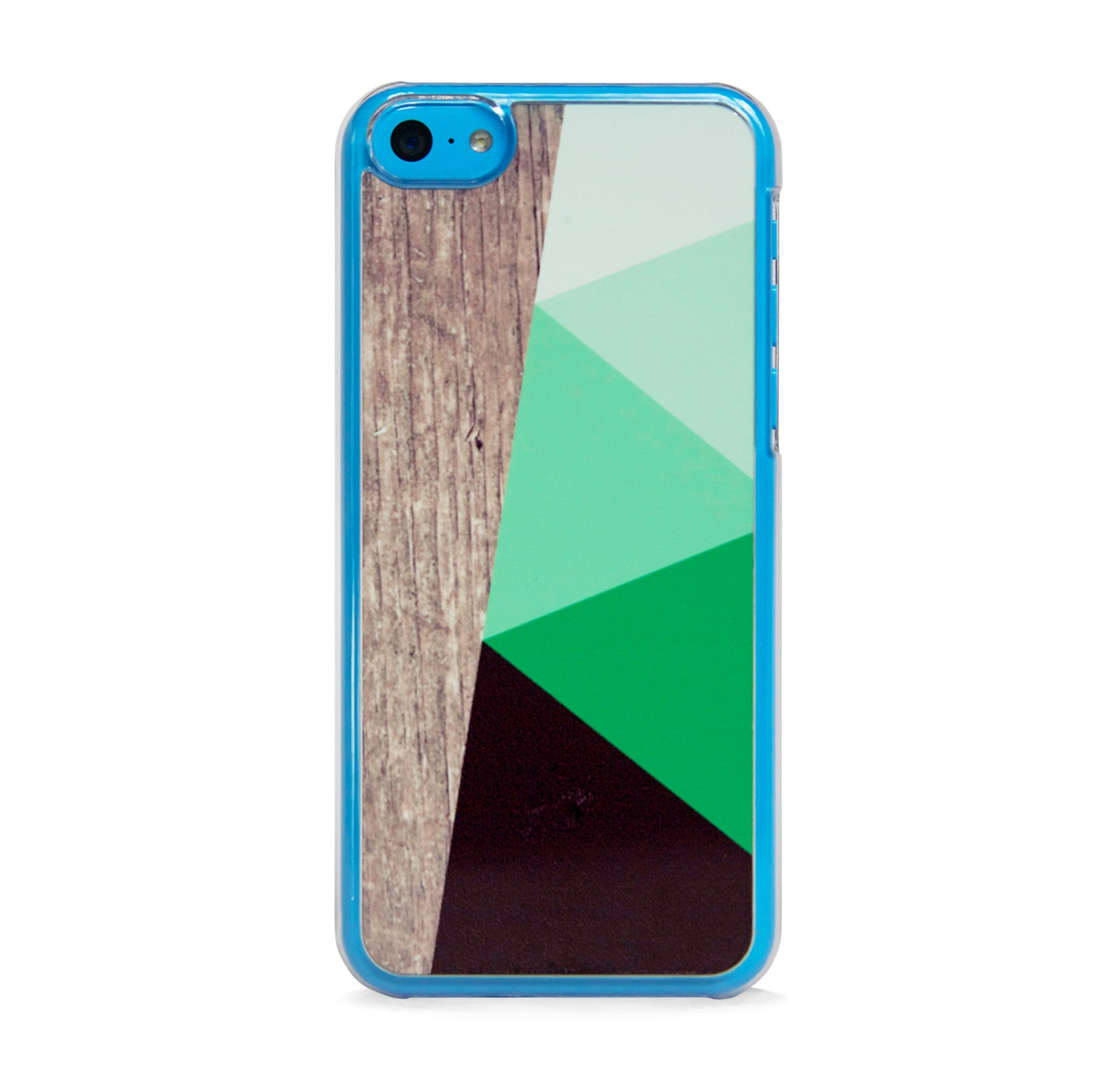 COLOR BLOCK GREEN ON WOOD PRINT