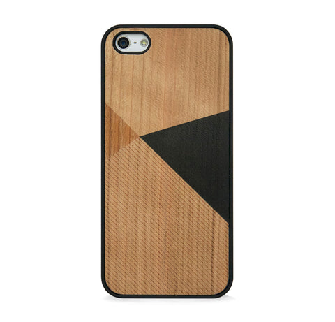 *WOOD CASE COLOR BLOCK BLACK FOR IPHONE 5/5s, IPHONE SE