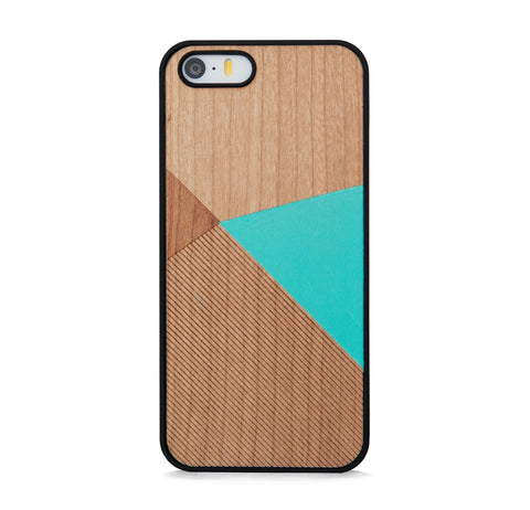 *WOOD CASE COLOR BLOCK MINT FOR IPHONE 5/5s, IPHONE SE