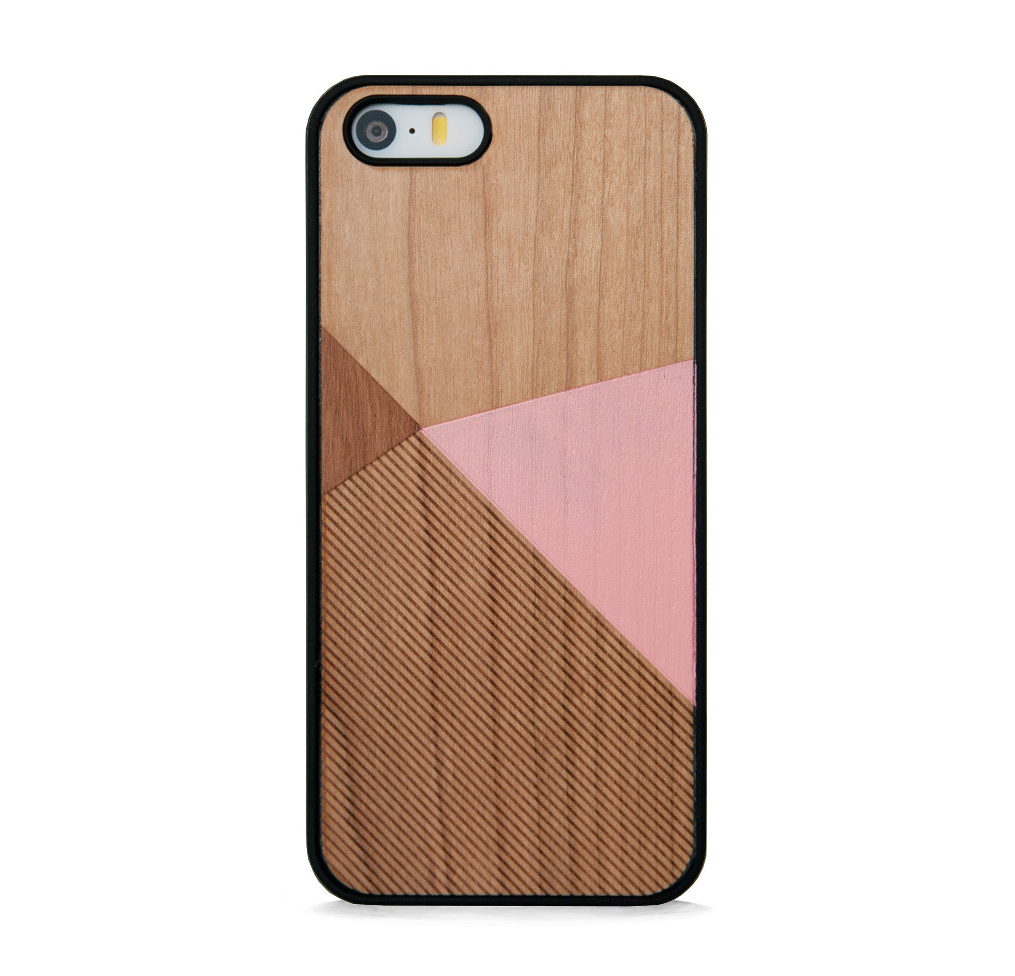 *WOOD CASE COLOR BLOCK PINK FOR IPHONE 5/5s, IPHONE SE