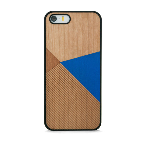 *WOOD CASE COLOR BLOCK ROYAL BLUE FOR IPHONE 5/5s, IPHONE SE