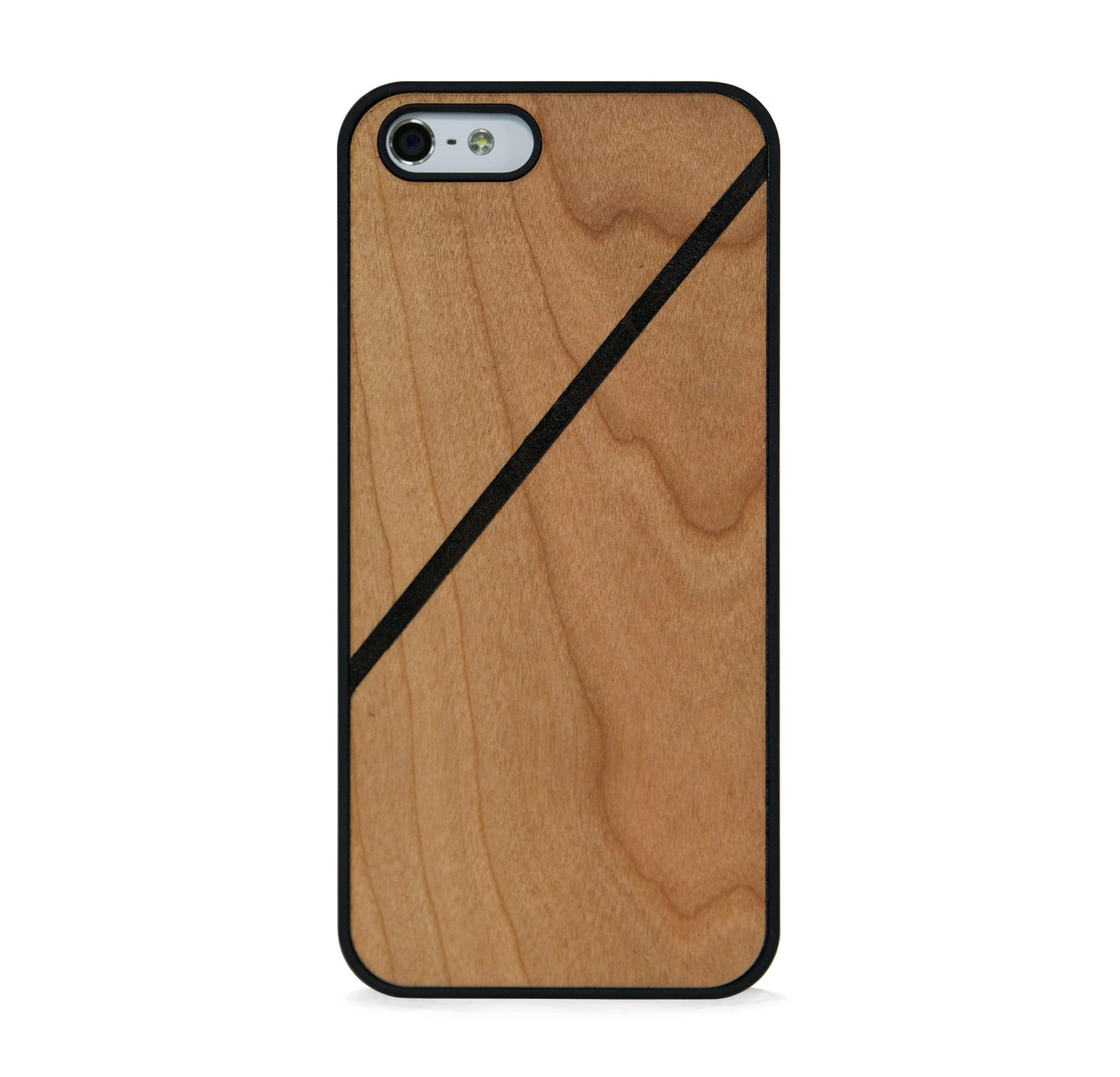 *WOOD CASE LINE COLOR BLOCK BLACK FOR IPHONE 5/5s, IPHONE SE