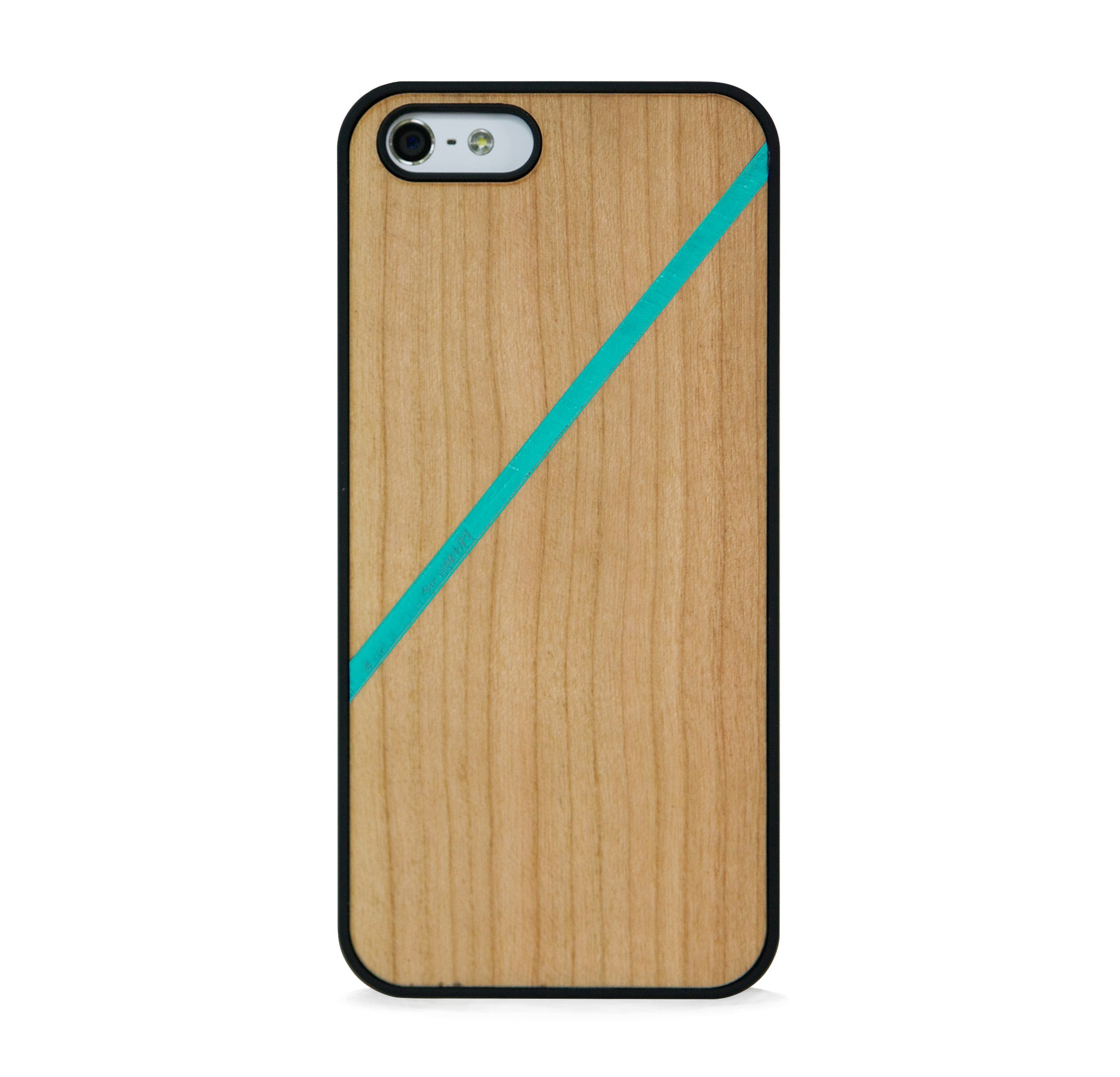 *WOOD CASE LINE COLOR BLOCK MINT FOR IPHONE 5/5s
