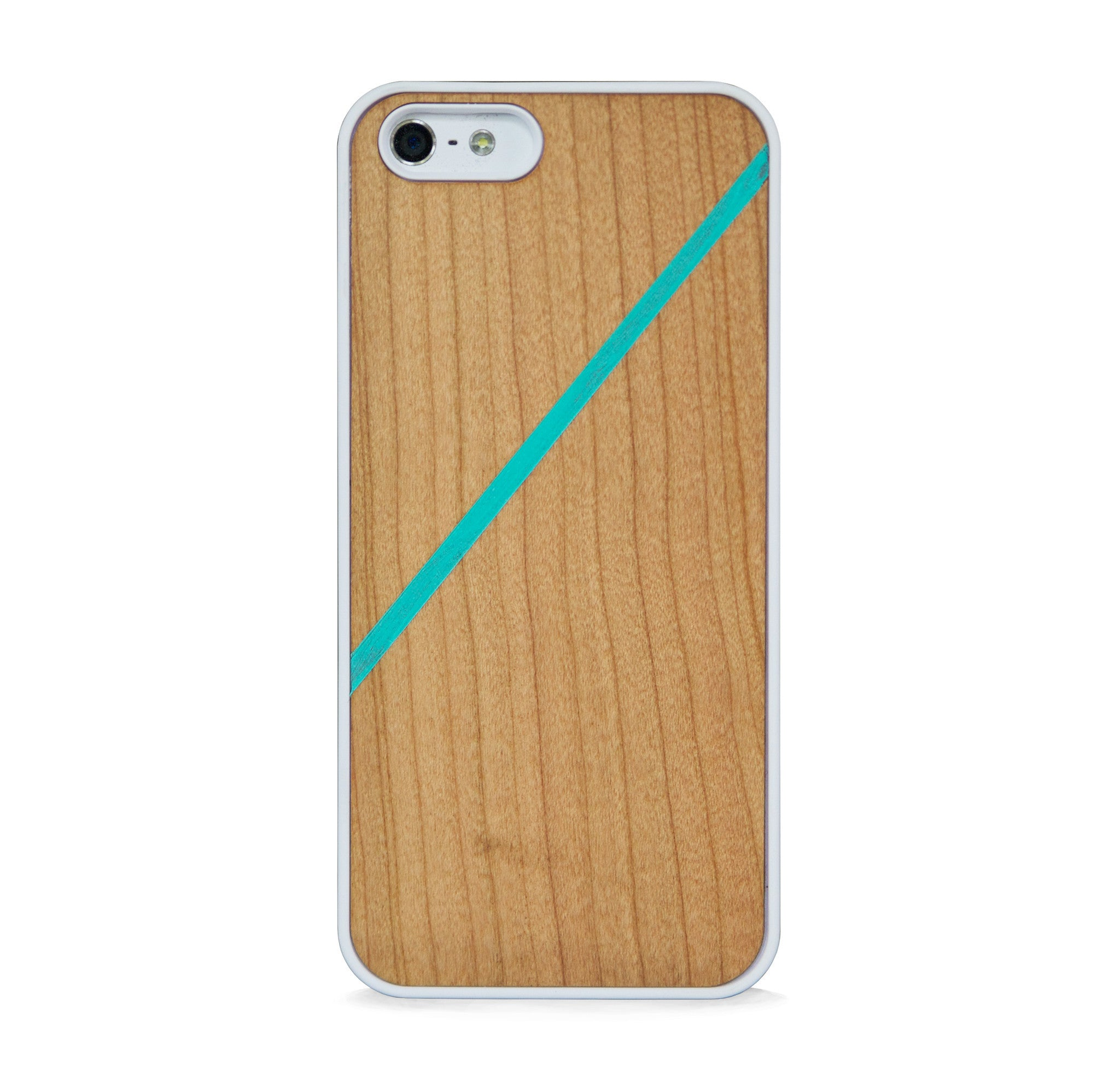 *WOOD CASE LINE COLOR BLOCK MINT FOR IPHONE 5/5s, IPHONE SE