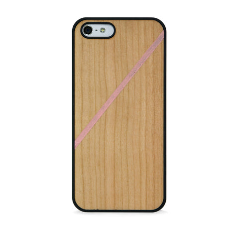 *WOOD CASE LINE COLOR BLOCK PINK FOR IPHONE 5/5s, IPHONE SE